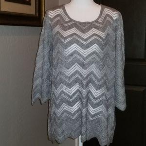 Chico's Traveler's Collection Gray Chevron Sweater